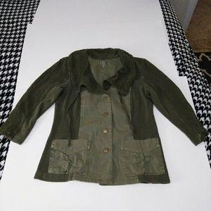 XCVI Army Green Mesh Button Jacket